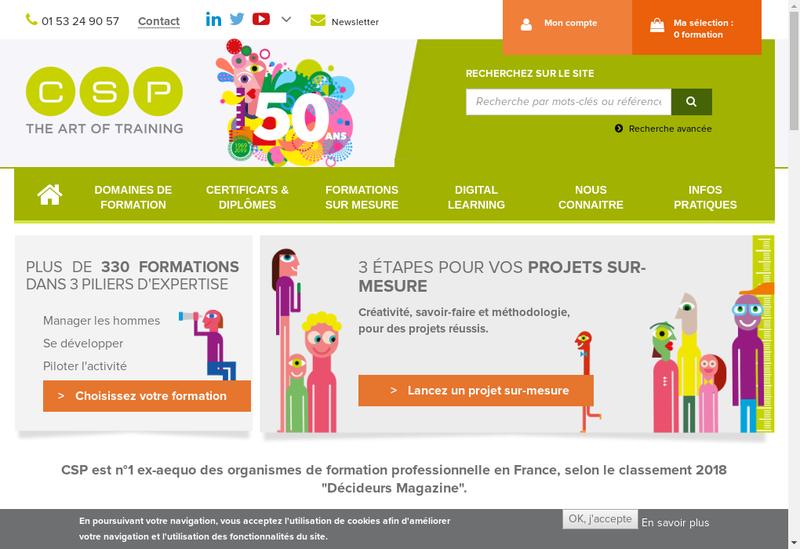 Capture d'écran du site de Communication Structure Perfectionneme