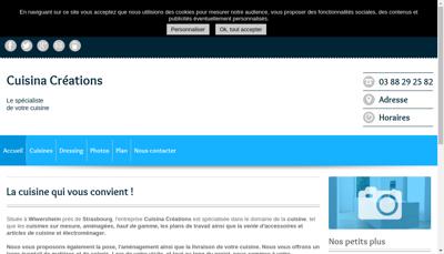 Capture d'écran du site de Cuisina Creations
