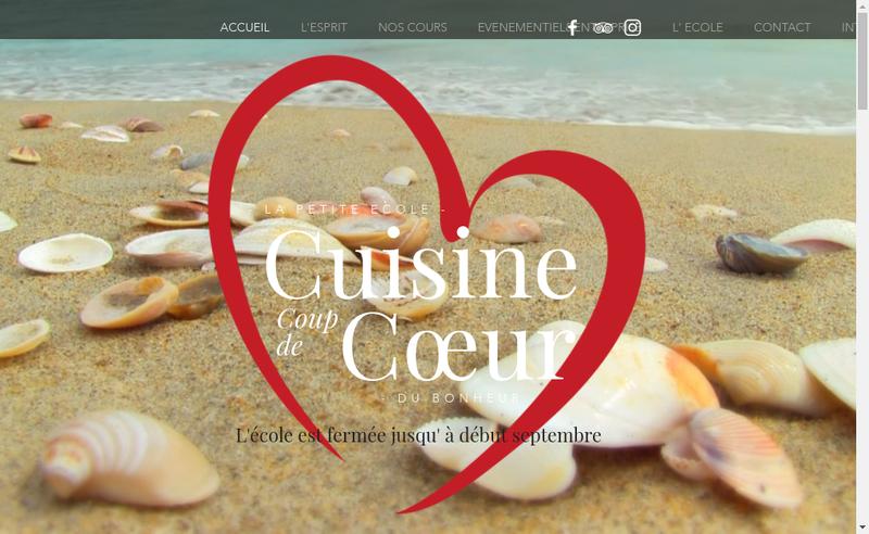 Capture d'écran du site de Cuisine Coup de Coeur