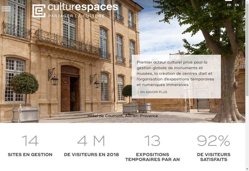 Capture d'écran du site de Culturespaces