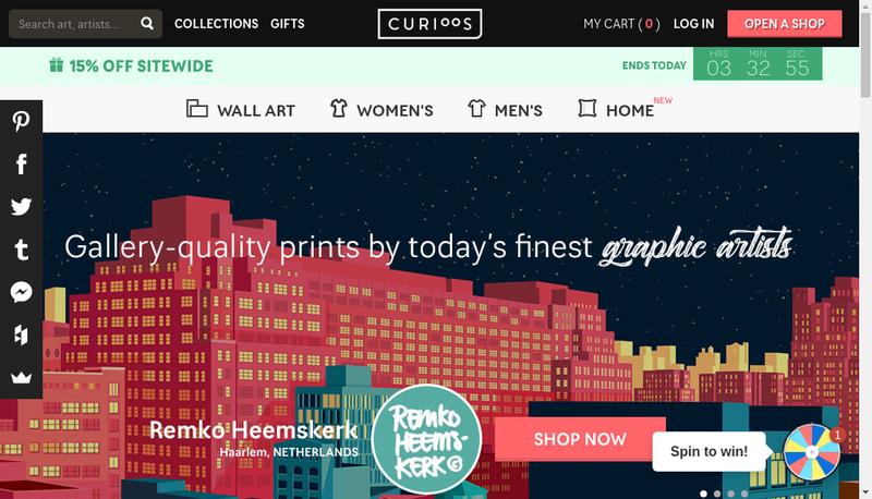 Capture d'écran du site de Curioos