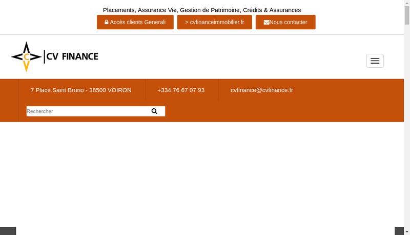 Capture d'écran du site de CV Finance