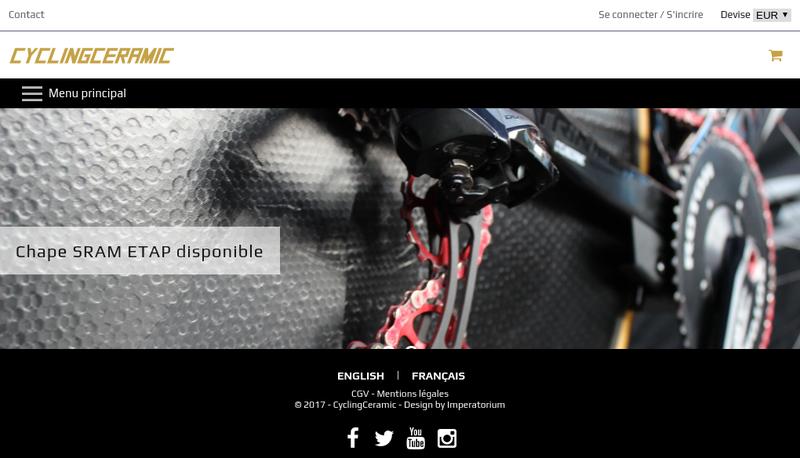 Capture d'écran du site de Cycling Ceramic
