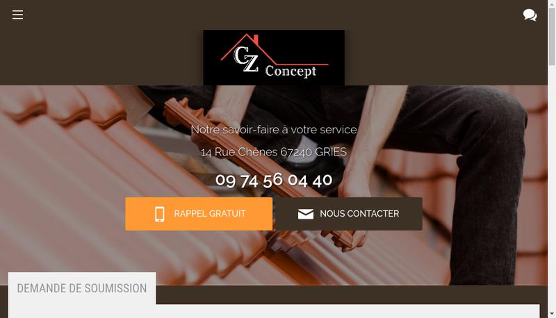 Capture d'écran du site de Cz Concept
