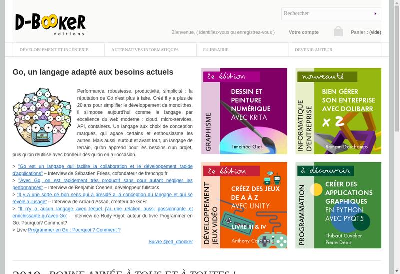 Capture d'écran du site de Editions d'Booker