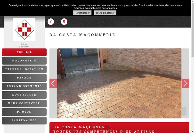 Capture d'écran du site de Da Costa Maconnerie