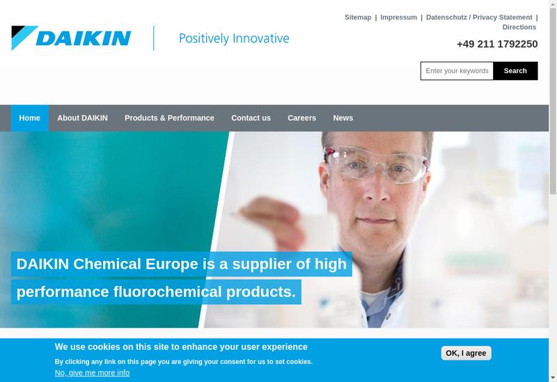 Capture d'écran du site de Daikin Chemical France