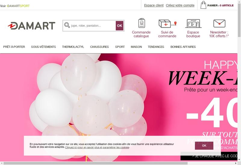 Capture d'écran du site de Damart