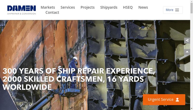 Capture d'écran du site de Damen Shiprepair Dunkerque