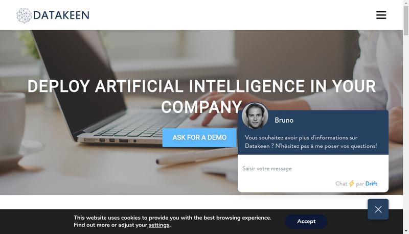 Capture d'écran du site de Datakeen