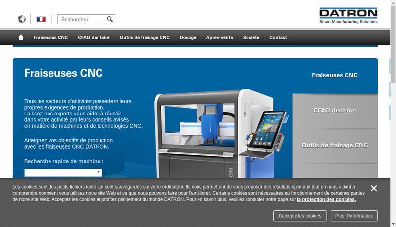 Capture d'écran du site de Datron France