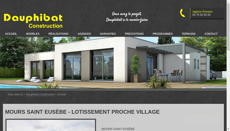 Capture d'écran du site de Dauphibat Construction