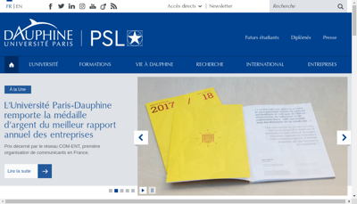 Capture d'écran du site de Dauphine Finance