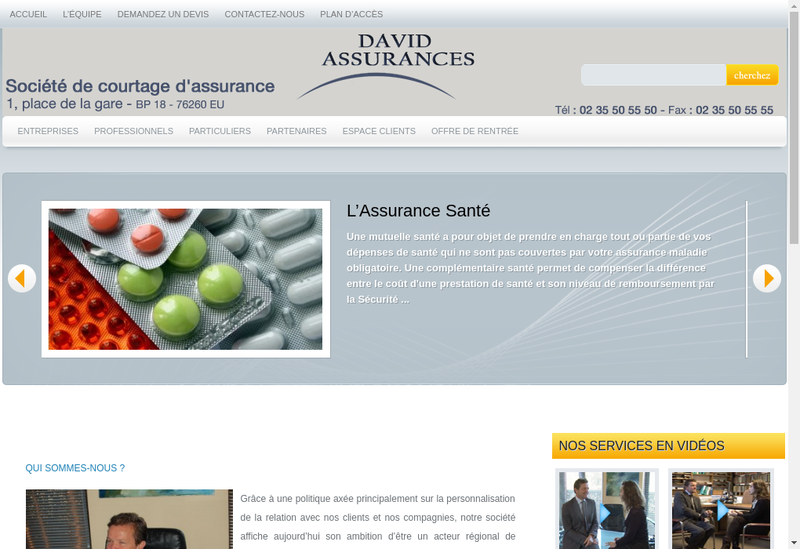 Capture d'écran du site de David Assurances