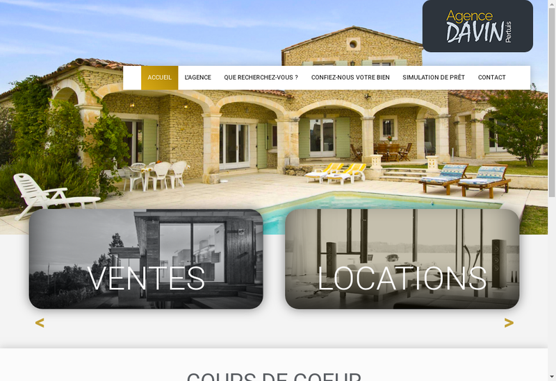 Capture d'écran du site de Davin Immobilier