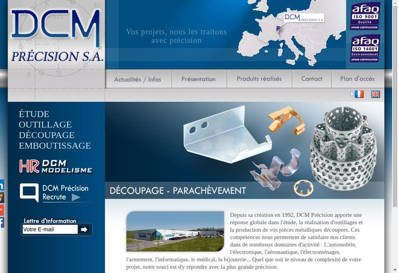Capture d'écran du site de Dcm Precision