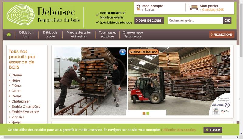 Capture d'écran du site de Deboisec