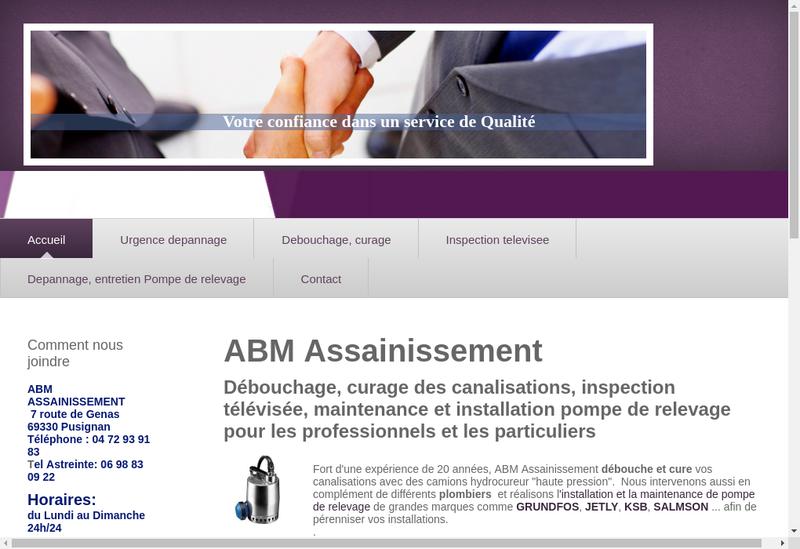 Capture d'écran du site de Abm Assainissement