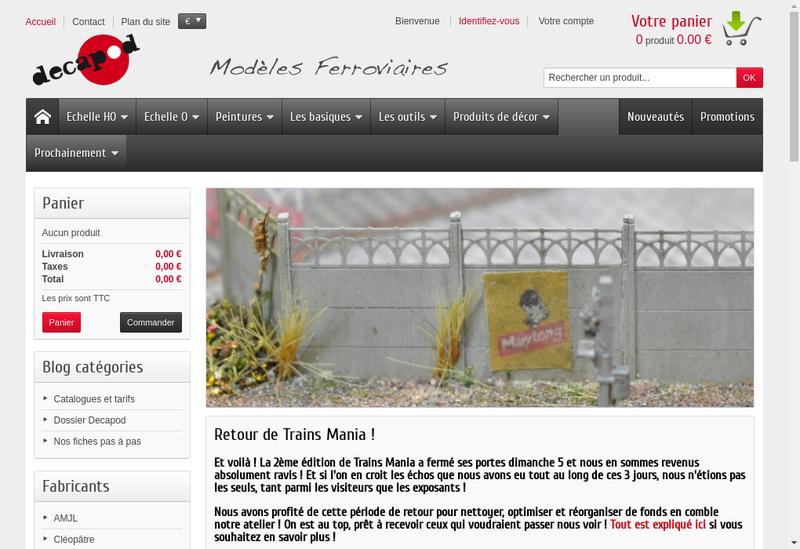 Capture d'écran du site de SARL Decapod