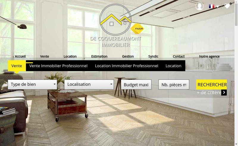 Capture d'écran du site de De Coquereaumont Immobilier