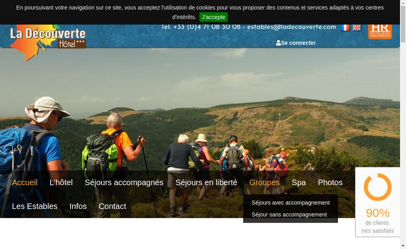 Capture d'écran du site de Hotel la Decouverte