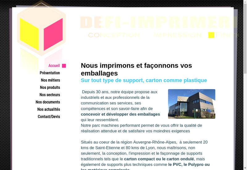 Capture d'écran du site de Defi Imprimerie