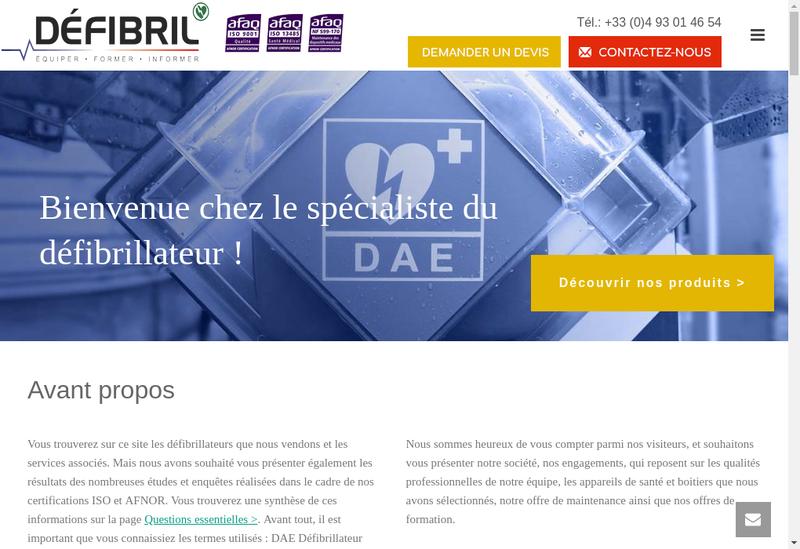 Capture d'écran du site de MATECIR DEFIBRIL