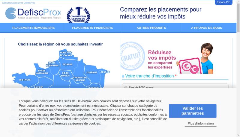 Capture d'écran du site de Devisprox