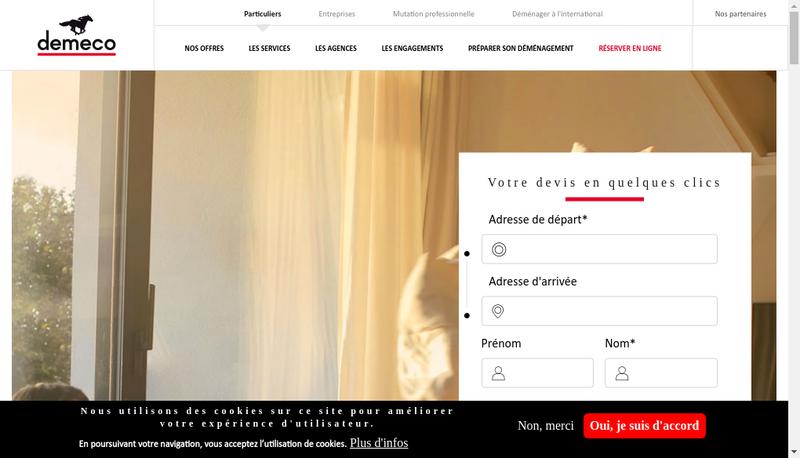 Capture d'écran du site de Demeco
