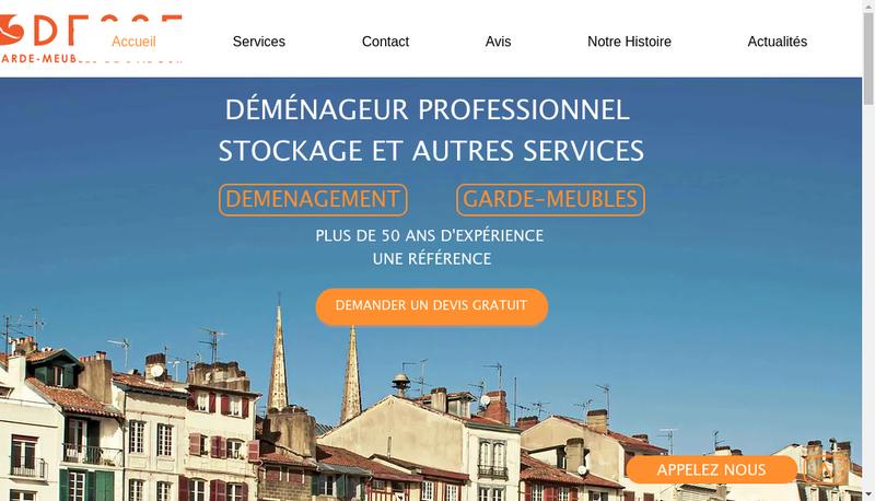 Capture d'écran du site de Desse aux Garde Meubles de l'Adour