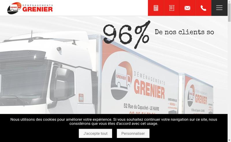 Capture d'écran du site de Demenagements Grenier
