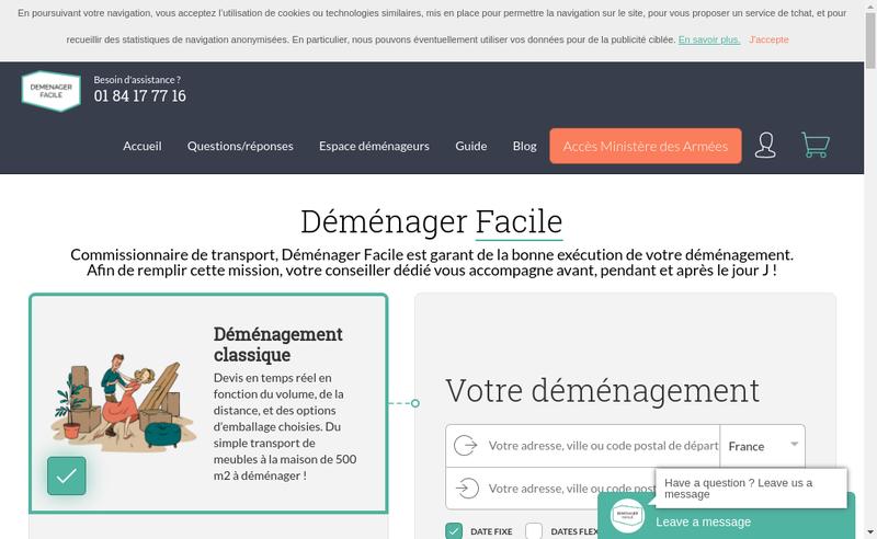 Capture d'écran du site de Demenager Facile