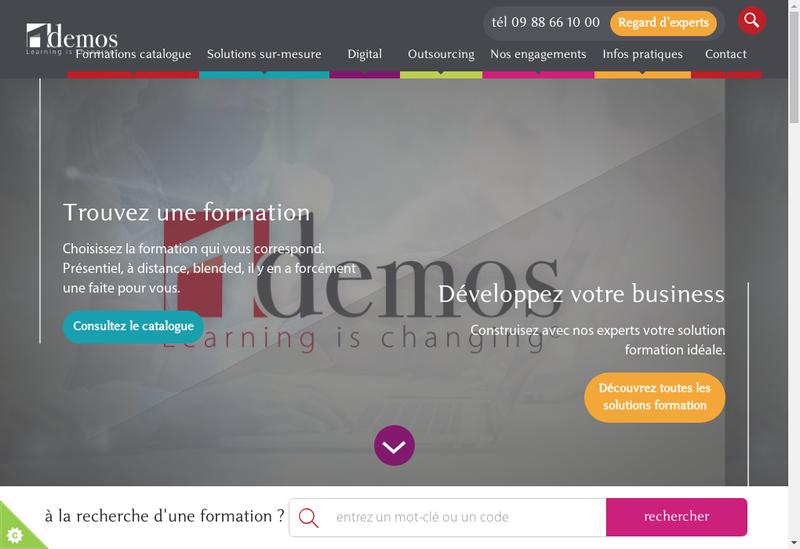 Capture d'écran du site de Demos Training