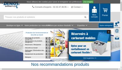 Capture d'écran du site de Denios