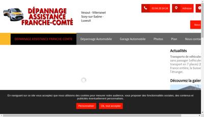 Capture d'écran du site de Depannage Assistance Franche Comte