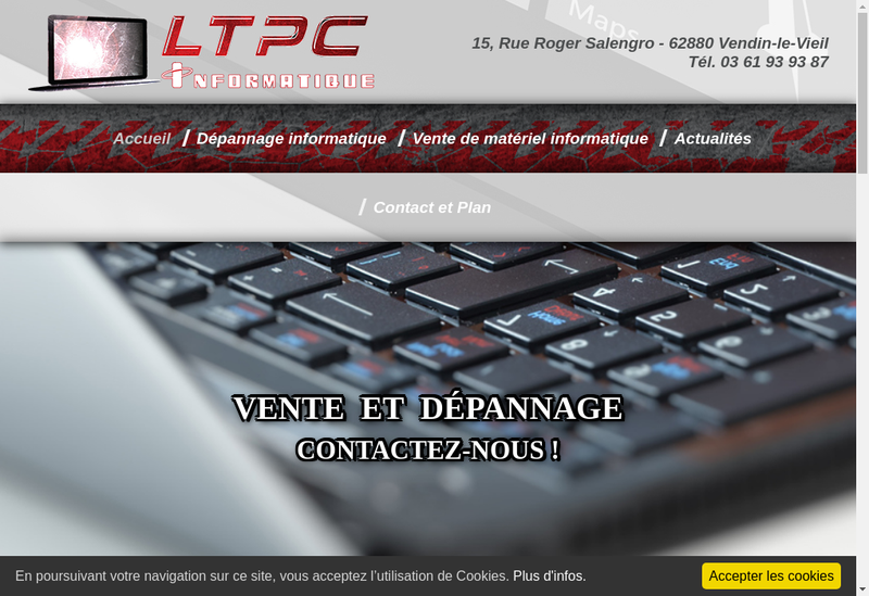 Capture d'écran du site de Ltpc Informatique