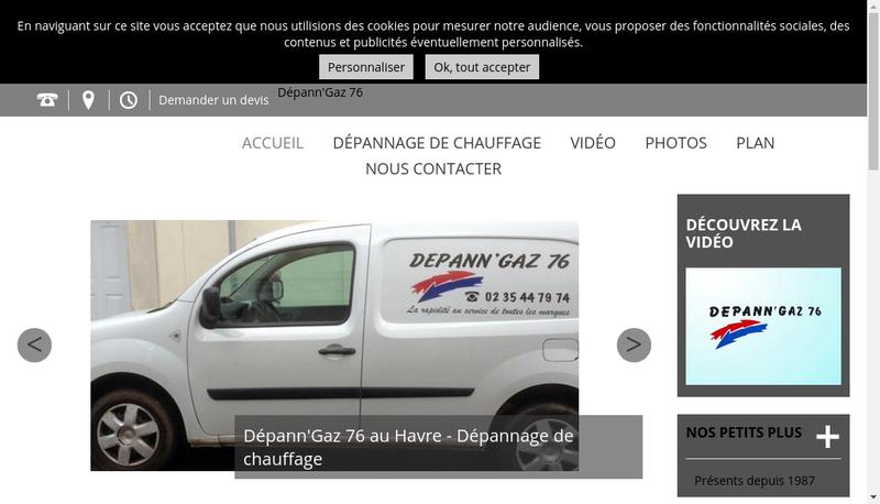 Capture d'écran du site de Depann'Gaz 76