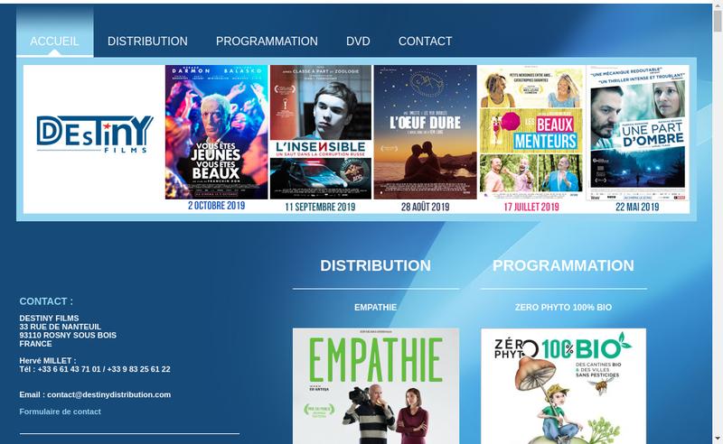 Capture d'écran du site de Destiny Films