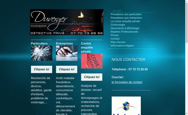 Capture d'écran du site de Duverger Investigation
