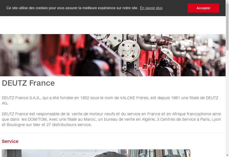 Capture d'écran du site de Deutz France SAS