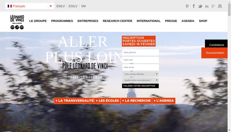 Capture d'écran du site de Devinci