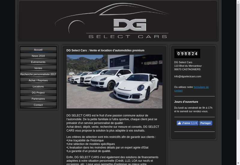 Capture d'écran du site de Dg Select Cars