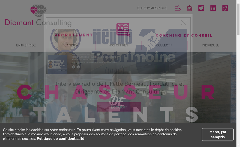 Capture d'écran du site de Diamant Consulting