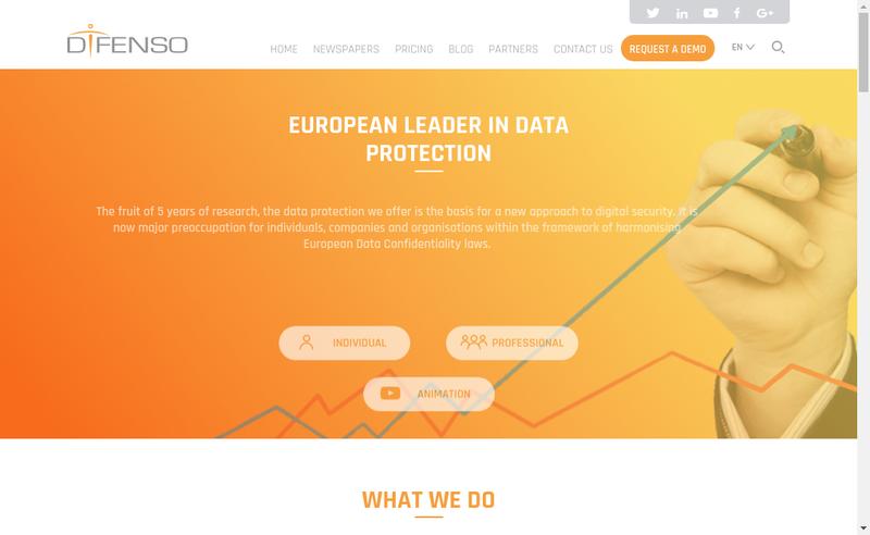Capture d'écran du site de Difenso