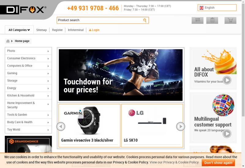 Capture d'écran du site de Difox