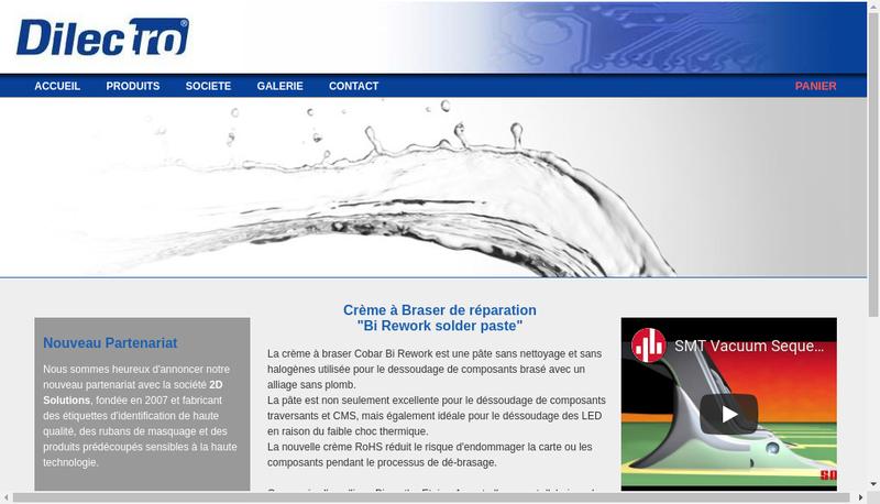 Capture d'écran du site de Dilectro