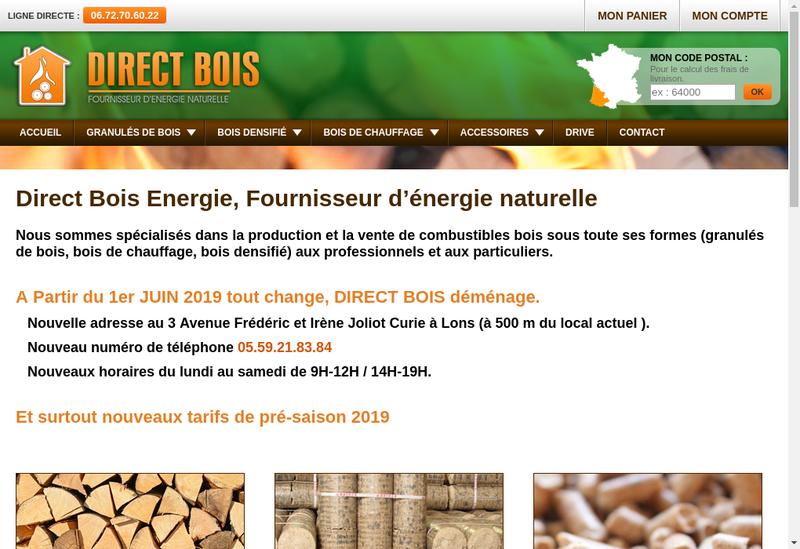 Capture d'écran du site de Direct Bois Energie