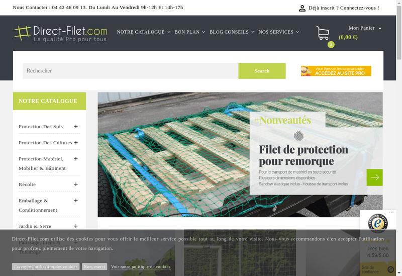 Capture d'écran du site de Filpack Protection