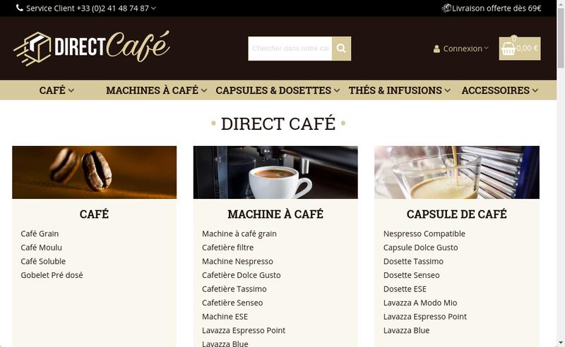 Capture d'écran du site de Direct Cafe