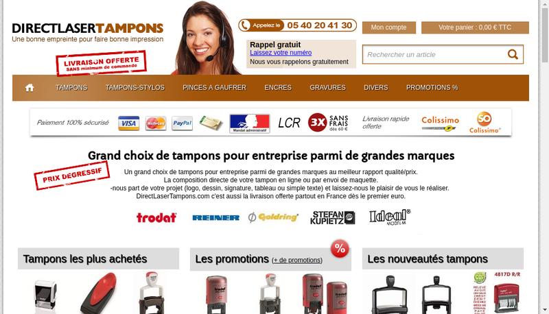 Capture d'écran du site de Direct Laser Net